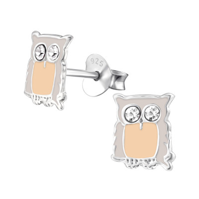 Children's Silver Owl Ear Studs with Crystal and Epoxy