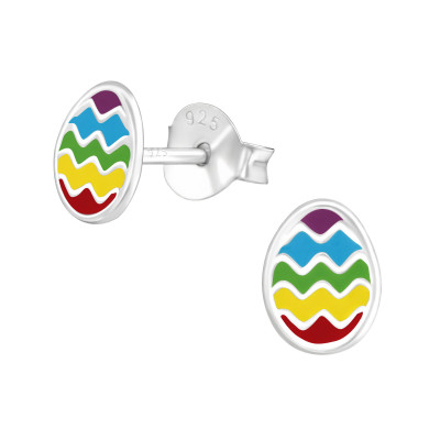 Children's Silver Egg Ear Studs with Epoxy