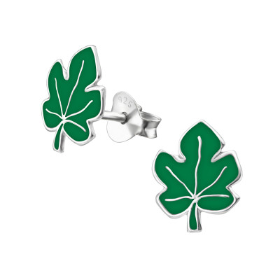 Children's Silver Leaf Ear Studs with Epoxy