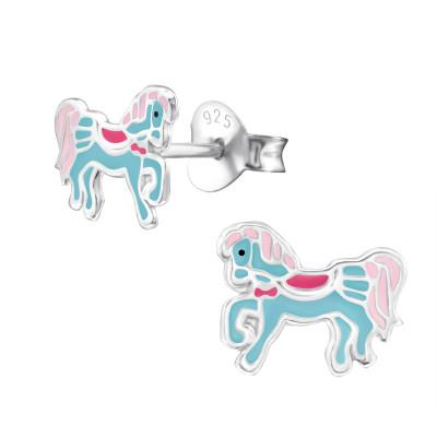 Children's Silver Pony Ear Studs with Epoxy