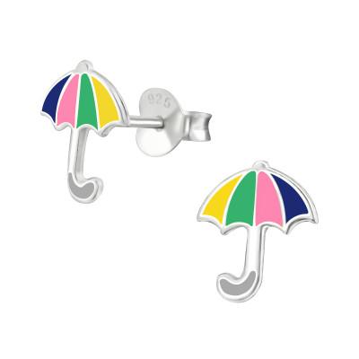 Children's Silver Umbrella Ear Studs with Epoxy