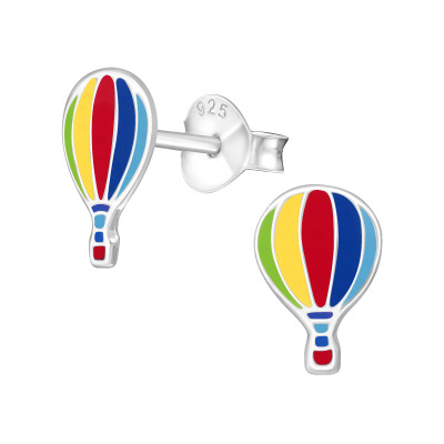 Children's Silver Hot Air Balloon Ear Studs with Epoxy