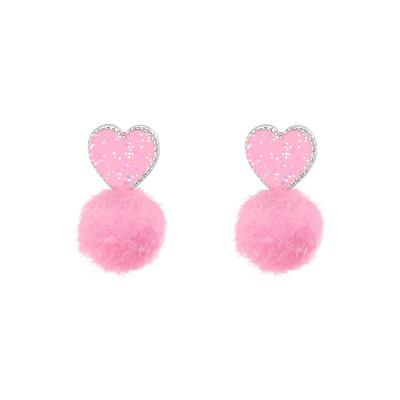 Children's Silver Heart Ear Studs with Epoxy and Pom Pom
