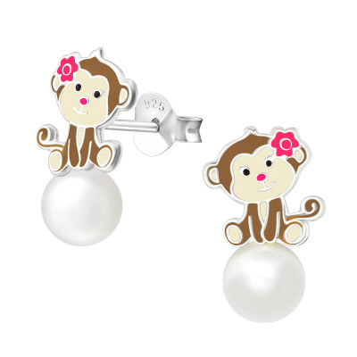 Children's Silver Monkey Ear Studs with Synthetic Pearl and Epoxy