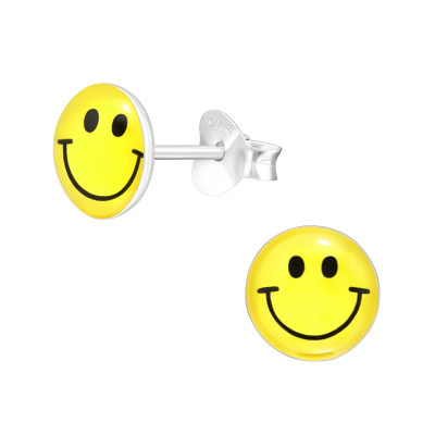 Children's Silver Smile Face Ear Studs