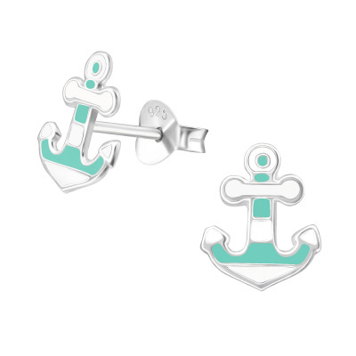 Children's Silver Anchor Ear Studs with Epoxy