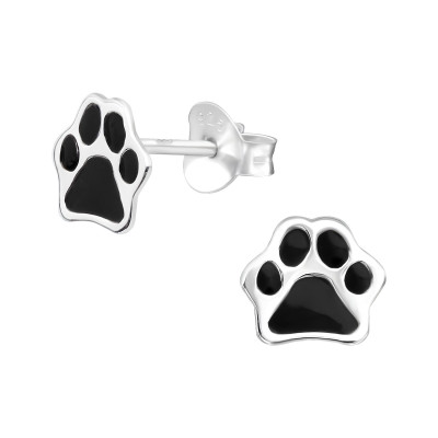 Children's Silver Paw Print Ear Studs with Epoxy