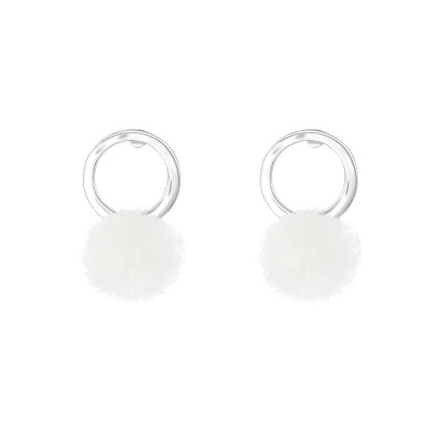 Children's Silver Circle Ear Studs with Pom-Pom