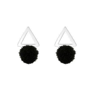 Children's Silver Triangle Ear Studs with Pom-pom
