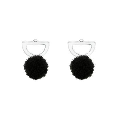 Children's Silver Semi Circle Ear Studs with Pom-Pom
