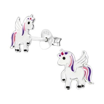 Children's Silver Unicorn Ear Studs with Epoxy
