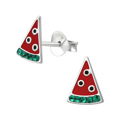 Children's Silver Watermelon Ear Studs with Crystal and Epoxy