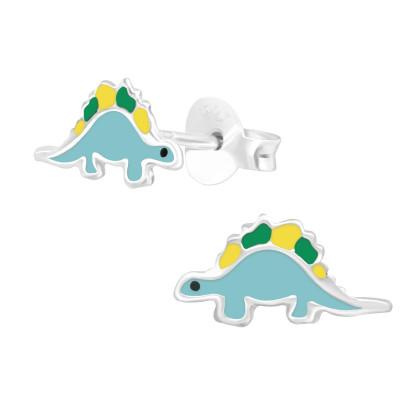 Children's Silver Dinosaur Ear Studs with Epoxy