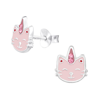 Children's Silver Caticorn Ear Studs with Crystal and Epoxy
