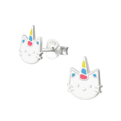 Children's Silver Caticorn Ear Studs with Epoxy