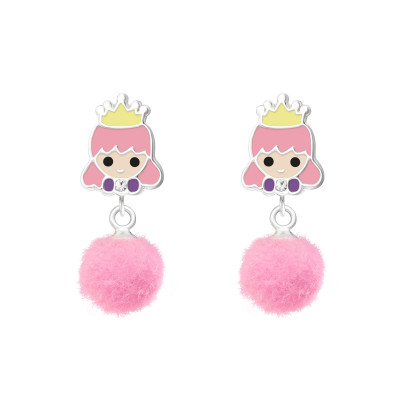 Children's Silver Epoxy Princess Ear Studs with Crystal and HangingPom Pom