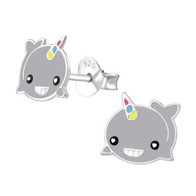 Children's Silver Whalecorn Ear Studs with Epoxy