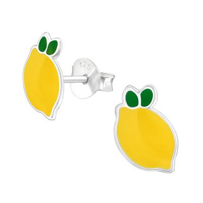 Children's Silver Lemon Ear Studs with Epoxy