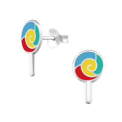 Children's Silver Lollypop Ear Studs with Epoxy