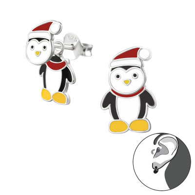 Children's Silver Penguin Ear Jacket with Epoxy