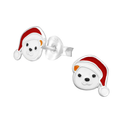 Children's Silver Bear Ear Studs with Epoxy