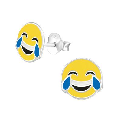 Children's Silver Tears Of Joy Emoji Ear Studs with Epoxy