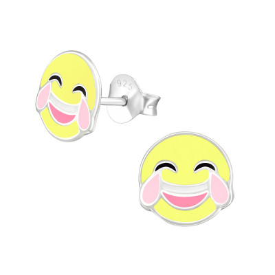 Children's Silver Tears Of Joy Emoji Ear Studs with Epoxy