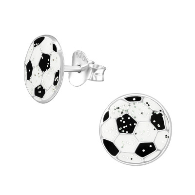 Children's Silver Ball Ear Studs with Epoxy