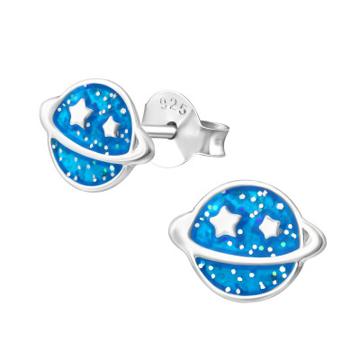 Children's Silver Saturn Planet Ear Studs with Epoxy