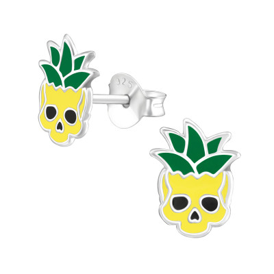 Children's Silver Pineapple Skull Ear Studs with Epoxy
