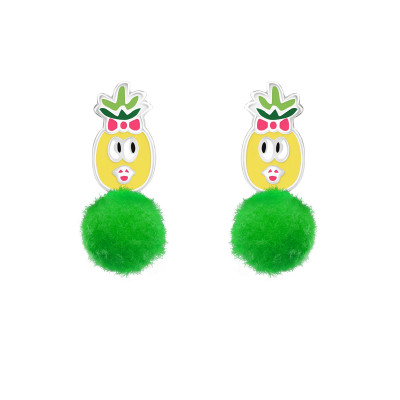 Children's Silver Pineapple Ear Studs with Epoxy and Pom Pom