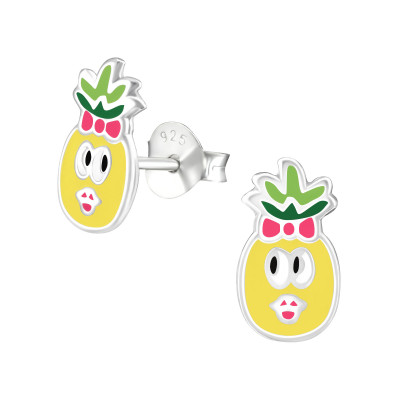 Children's Silver Pineapple Ear Studs with Epoxy