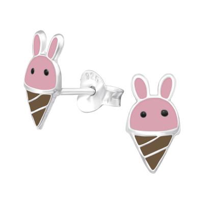 Children's Silver Bunny Ice Cream Ear Studs with Epoxy