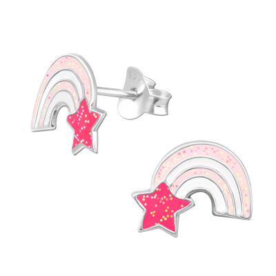 Children's Silver Rainbow Ear Studs with Epoxy