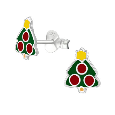 Children's Silver Christmas Tree Ear Studs with Epoxy