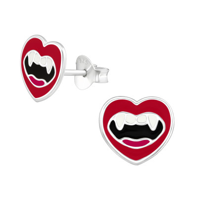 Children's Silver Vampire Mouth Ear Studs with Epoxy