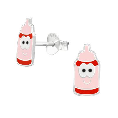 Children's Silver Milk Bottles Ear Studs with Epoxy