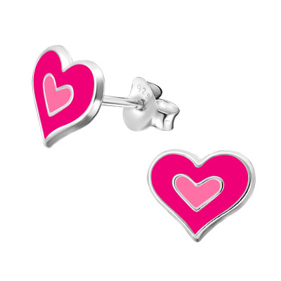 Children's Silver Heart Ear Studs with Epoxy