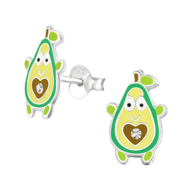 Children's Silver Avocado Ear Studs with Crystal and Epoxy