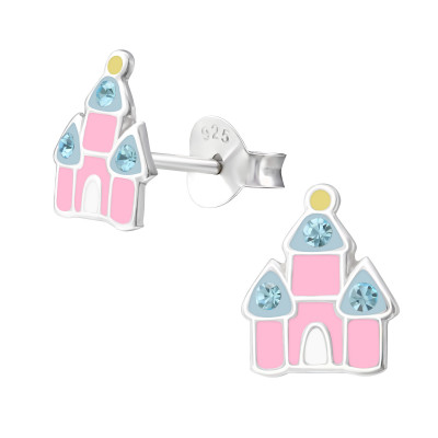 Children's Silver Castle Ear Studs with Crystal and Epoxy