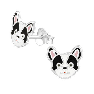 Children's Silver Dog Ear Studs with Epoxy
