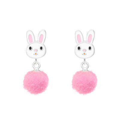 Children's Silver Rabbit Ear Studs with Epoxy and Hanging Pom Pom