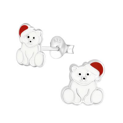 Children's Silver Polar Bear Ear Studs with Epoxy