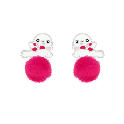 Children's Silver Seal Ear Studs with Epoxy and Pom Pom
