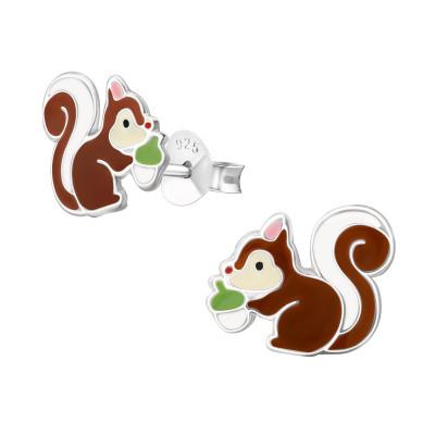 Children's Silver Squirrel Ear Studs with Epoxy