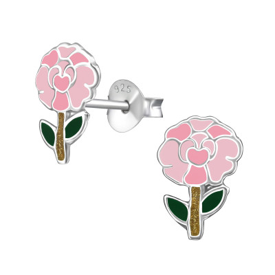 Children's Silver Carnation Ear Studs with Epoxy