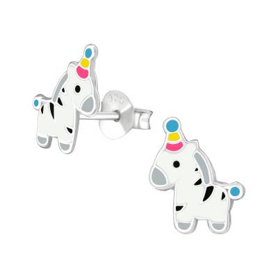 Children's Silver Zebra Ear Studs with Epoxy