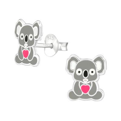 Children's Silver Koala Ear Studs with Epoxy