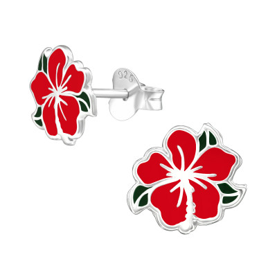 Children's Silver Chinese Rose Ear Studs with Epoxy