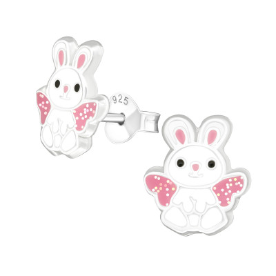 Children's Silver Rabbit Ear Studs with Epoxy